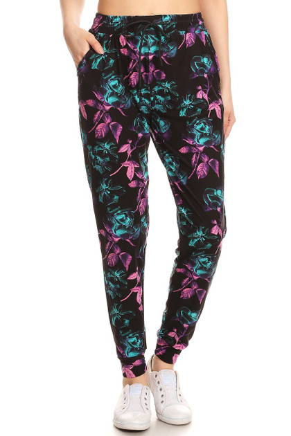 Buttery Soft Electric Pink and Teal Floral Joggers