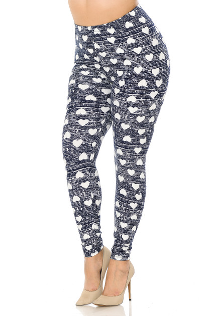 Double Brushed Rustic Hearts Leggings - Plus Size