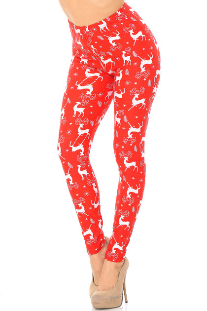 Buttery Soft Prancing Christmas Reindeer Leggings - Extra Plus Size - 3X-5X