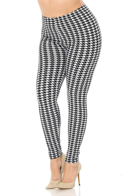 Double Brushed Black and White Houndstooth Leggings - Plus Size
