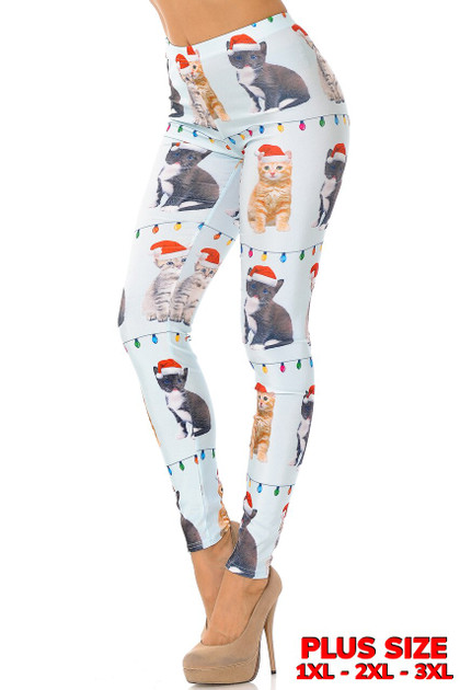 Cats in Hats Christmas Leggings - Plus Size