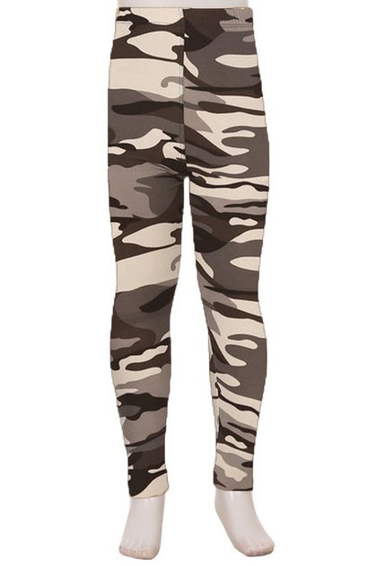 Buttery Soft Charcoal Camouflage Kids Leggings - EEVEE