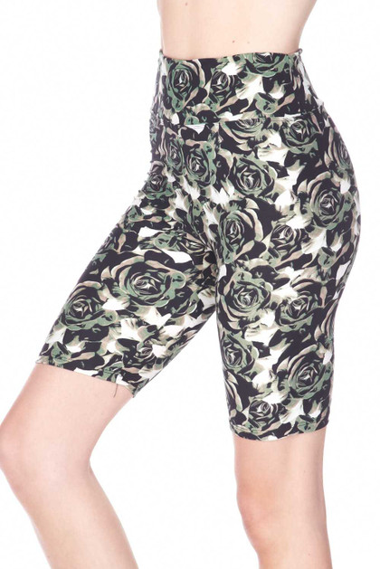 Buttery Soft Olive Rose Shorts - Plus Size - 3 Inch