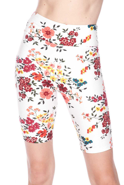 Double Brushed Fresh Spring Floral Shorts - Plus Size