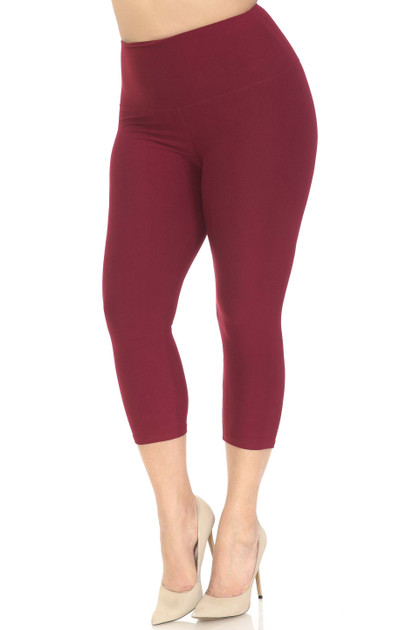 Double Brushed Basic Solid High Waisted Extra Plus Size Capri - 5 Inch - 3X-5X - New Mix
