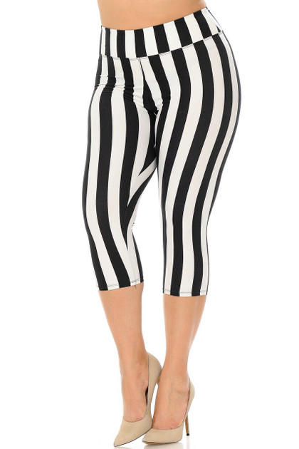 Double Brushed Vertical Wide Stripe High Waisted Capris - Plus Size - 3 Inches