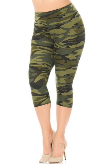 Double Brushed Green Camouflage High Waist Capris - Plus Size - 3 Inch
