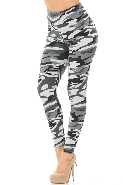Charcoal Camouflage High Waisted Double Brushed Leggings