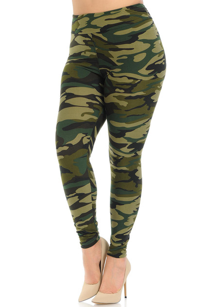 Buttery Soft Green Camouflage High Waisted Leggings - Plus Size - EEVEE