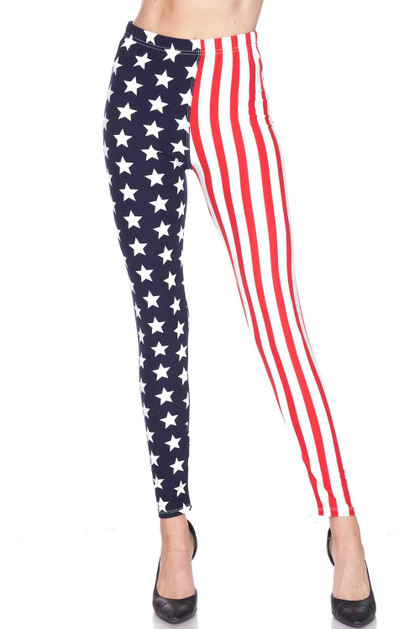 Buttery Soft USA Flag Leggings - Extra Plus Size - 3X-5X