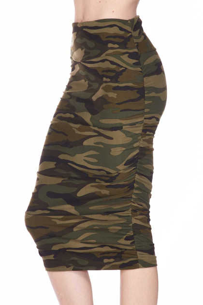 Double Brushed Green Camouflage Pencil Skirt