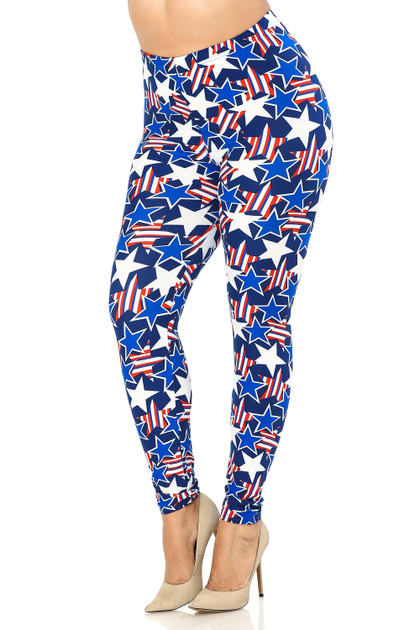 Buttery Soft American Stars Leggings - Extra Plus Size - 3X-5X