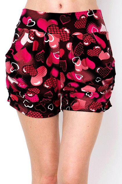 Buttery Soft Artistic Medley of Hearts Harem Shorts