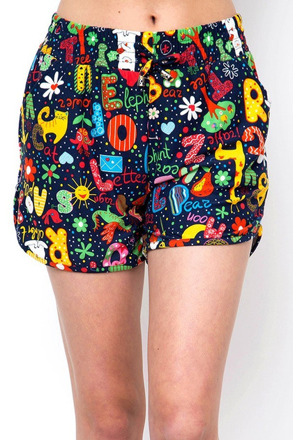 Double Brushed Animal Letters Dolphin Shorts