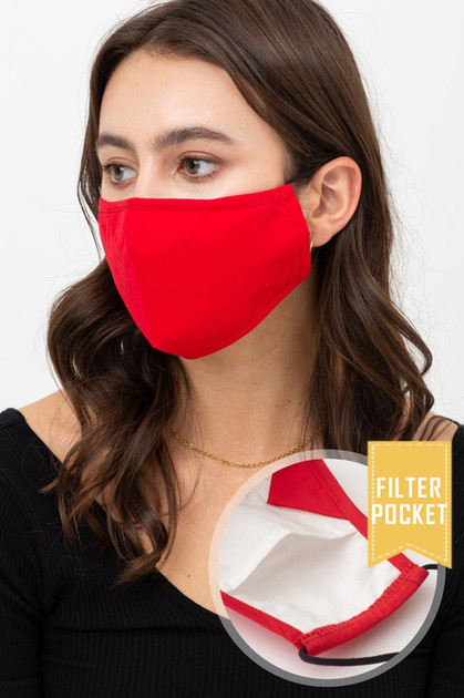 Solid Face Mask with Built In Filter and Nose Bar