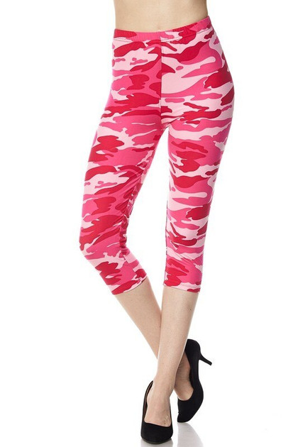 Double Brushed Pink Camouflage Capris