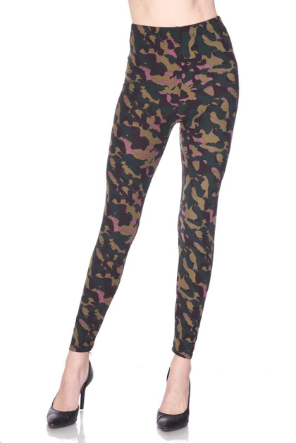 Double Brushed Midnight Pink Camouflage Leggings - Plus Size