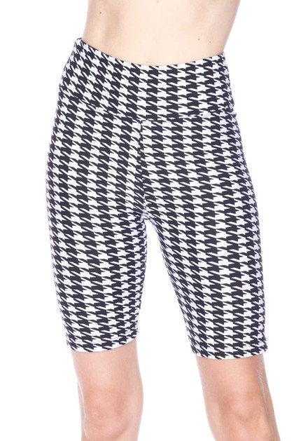Double Brushed Houndstooth Plus Size Biker Shorts - 3 Inch Waist Band