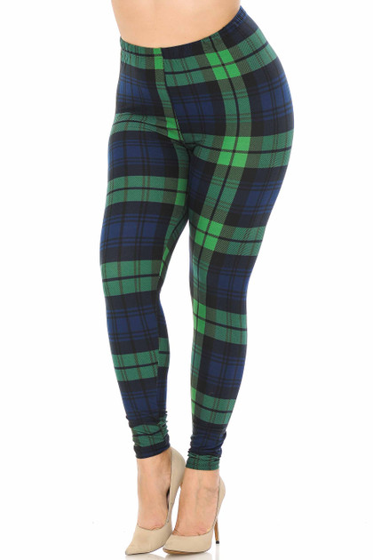 Buttery Soft Green Plaid Leggings - Plus Size