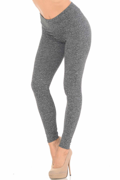 Brushed Charcoal Sport Double Brushed Leggings
