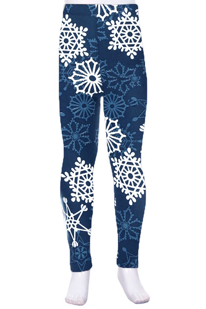 Buttery Soft Gorgeous Snowflakes Kids Leggings