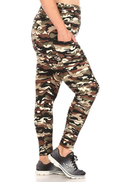 Camouflage Sport Leggings - Plus Size with Side Pocket