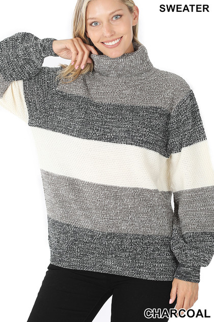 Front view of Charcoal Color Block Striped Turtle Neck Balloon Sleeve Sweater
