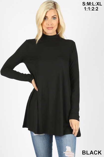 Front image of Black Long Sleeve Mock Neck Top with Pockets