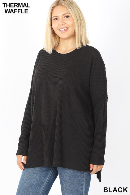 Front of Black  Brushed Thermal Waffle Knit Round Neck Hi-Low Plus Size Sweater