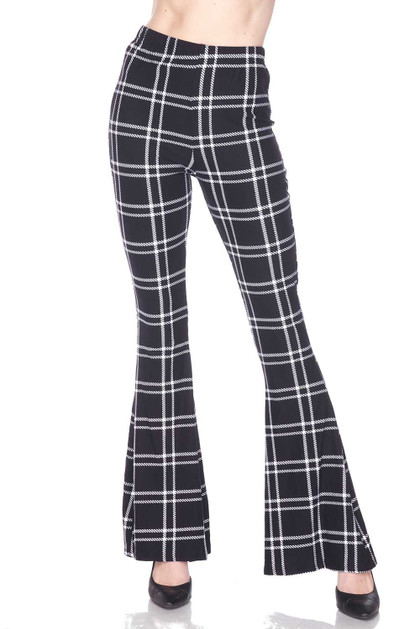 Midnight Dashed Plaid Bell Bottom Double Brushed Leggings