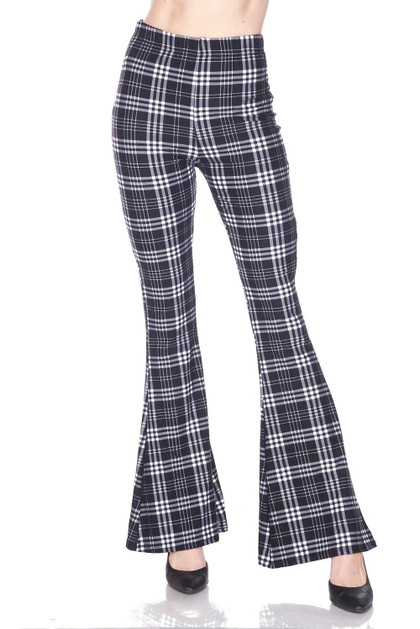 Traditional Black and White Plaid Bell Bottom Double Brushed Leggings