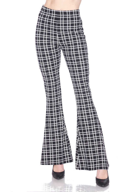 Simple Squared Plaid Bell Bottom Double Brushed Leggings