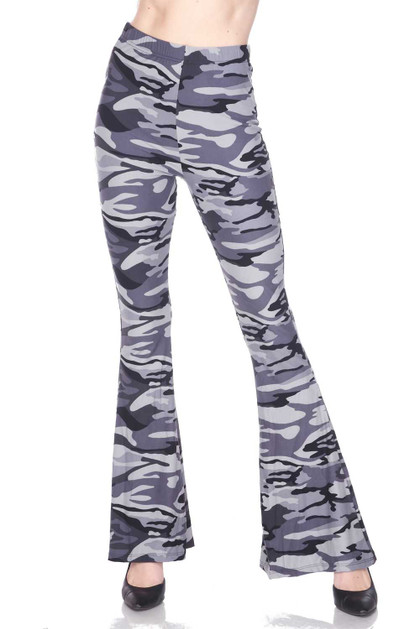 Charcoal Camouflage Bell Bottom Double Brushed Leggings