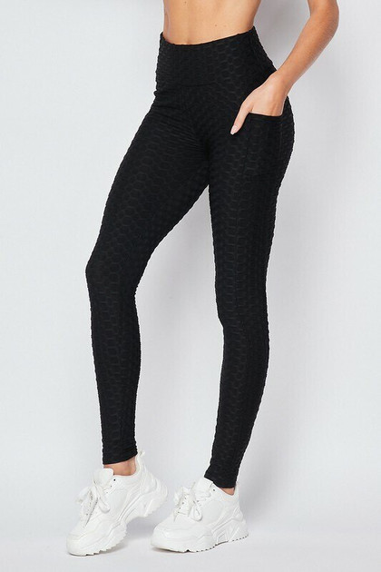Scrunch Butt Textured High Waisted Leggings - Plus Size with Pockets