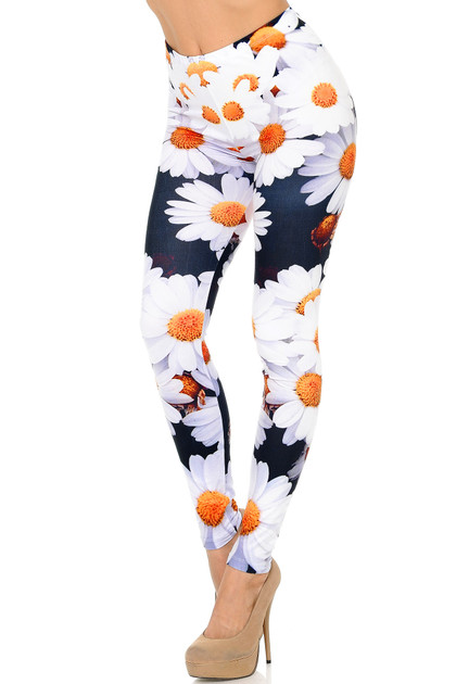 Left Side Image of Creamy Soft Daisy Bunch Leggings - Extra Plus Size