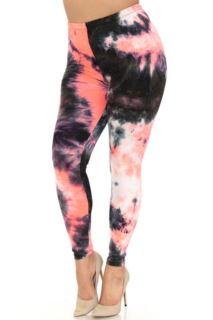 Double Brushed Coral Tie Dye Leggings - Plus Size