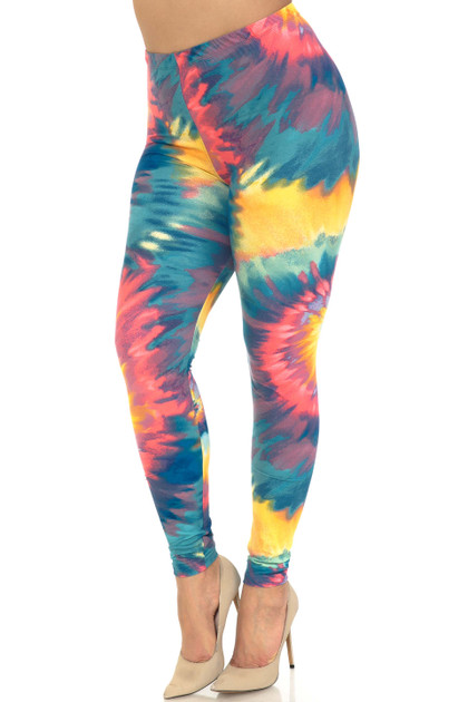 Double Brushed Multi-Color-Bold Tie Dye Leggings - Extra Plus Size - 3X-5X