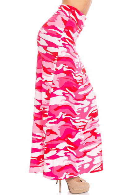 Double Brushed Pink Camouflage Maxi Skirt