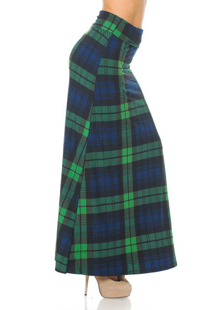 Double Brushed Green Plaid Maxi Skirt