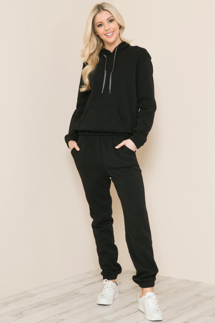 Black 2 Piece Solid Fleece Lined French Terry Joggers and Hoodie Set