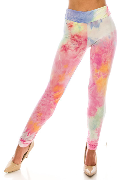 Double Brushed Multi-Color Pastel Tie Dye High Waisted Leggings - Plus Size