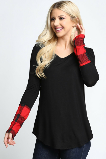 Plaid Cuff Solid Contrast V Neck Long Sleeve Top - Plus Size