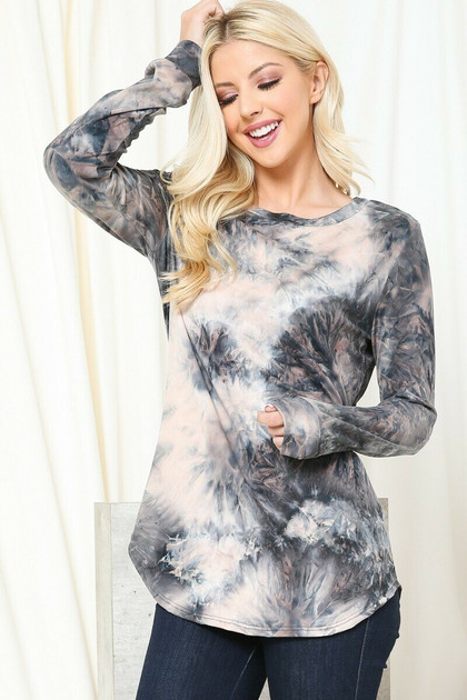 Taupe Tie Dye Round Neck Long Sleeve Top