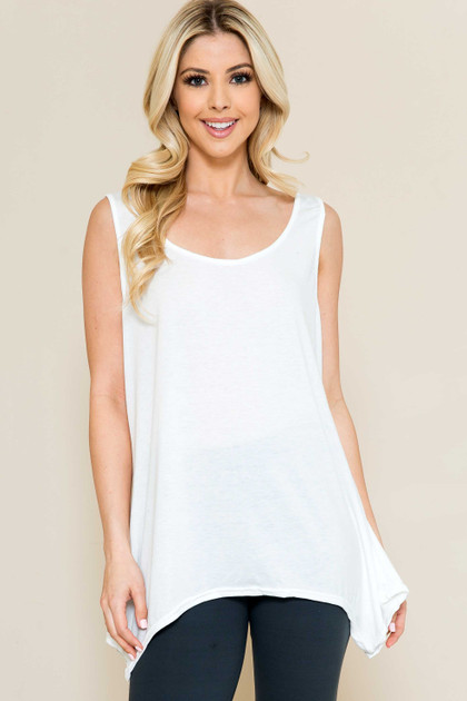 Basic Solid Round Neck Relaxed Fit Tank Top