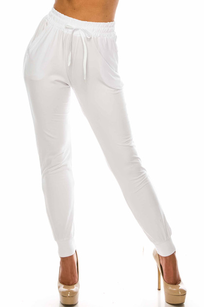 Double Brushed Solid Basic White Joggers - EEVEE