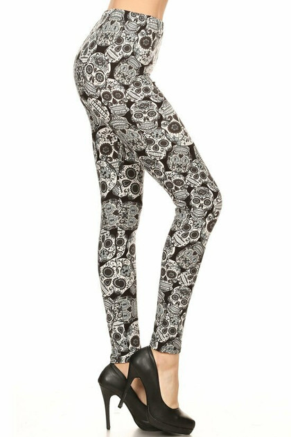 Buttery Soft Charcoal Sugar Skull Leggings - Extra Plus Size - 3X-5X