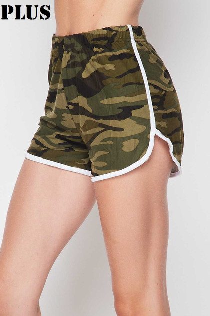 Double Brushed Green Camouflage Plus Size Dolphin Shorts