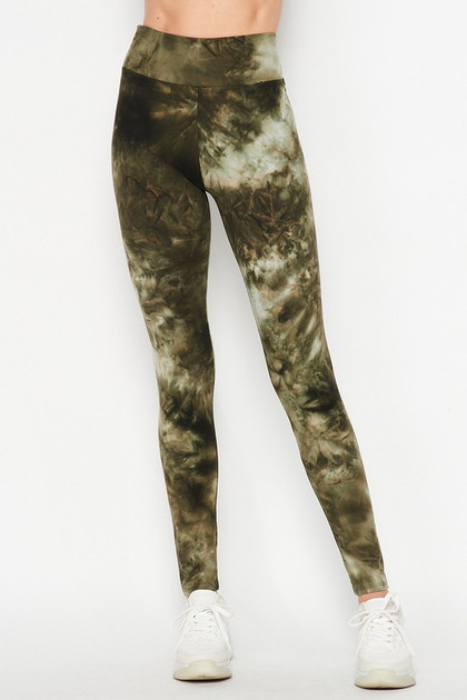 Front of Olive  Tie Dye High Waisted Double Brushed Leggings