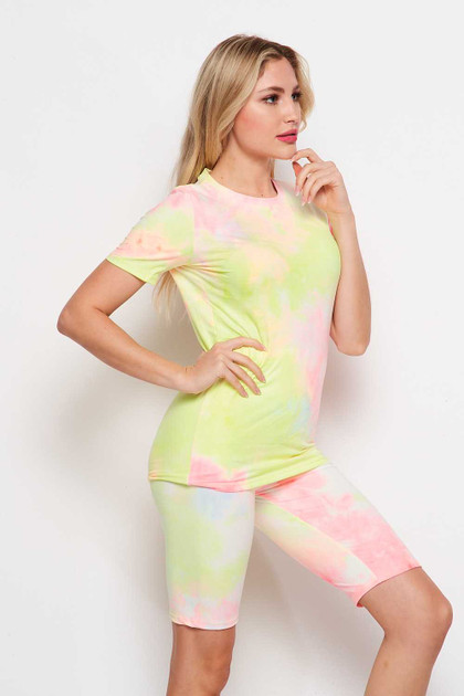 2 Piece Double Brushed Pink and Yellow Tie Dye Biker Shorts and T-Shirt Set
