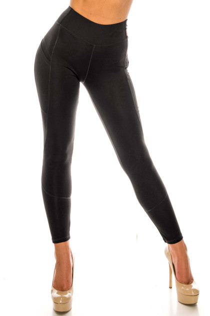 Black Contour High Waisted Workout Leggings with Pockets